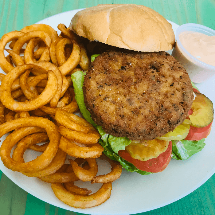 S9. Vegan Burger with Curly Fries