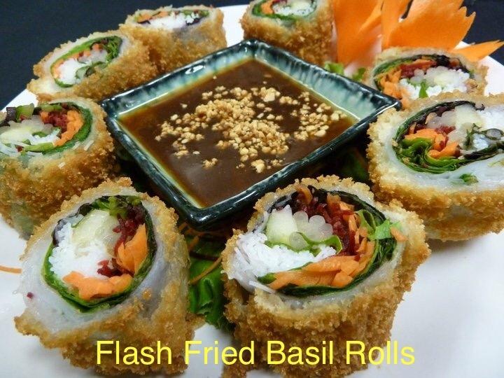 Flash Fried Basil Rolls (Por-Pia Horapa Tod)