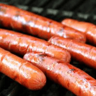 Two Grilled Hot Dogs with Fries